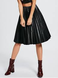 s high waist pleated faux leather skirt black one size