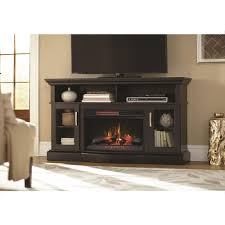 home decorators collection hawkings point 59 5 in rustic tv stand electric fireplace in black