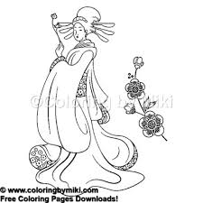 Japanese Kimono Lady Coloring Page 1063 Coloring By Miki