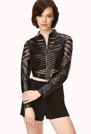 lyst forever 21 secret rebel faux leather mesh jacket in black