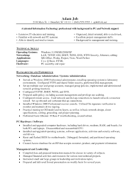 Resume Objective Examples For Network Administrator Archives