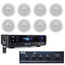 in wall in ceiling dual 8 inch speaker system directable tweeter 8 2 way flush mount white4 channel high power stereo speaker selectordigital home