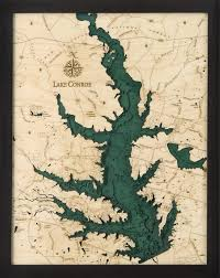 Lake Conroe Tx Wood Carved Topographic Depth Chart Map