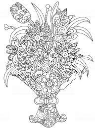 Boeket Bloemen Vector Kleurplaten Voor Volwassenen Stockvectorkunst