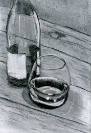 drawing 070 still life with wine