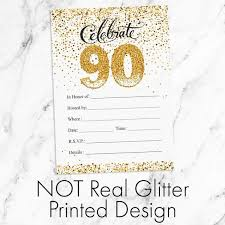 90 Birthday Party Invitations White And Gold 90th Birthday Party Invitation Cards With Envelopes 10 Count
