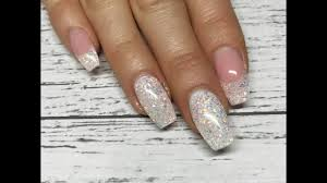 French Gel Nail Designs Gel Nails Glittery French Design