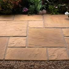 patio slabs. Oxford Patio Pack - Antique Buff (9 Sqm) Slabs U