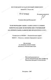 Диссертация на тему Трансформация рынка капиталов в условиях  Диссертация и автореферат на тему Трансформация рынка капиталов в условиях информатизации экономических отношений на