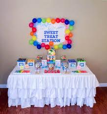 rainbow art birthday party planning ideas supplies cake idea