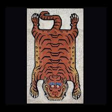 small cut out pelt tiger rug