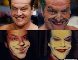 jack nicholson s makeup transformation to bee the joker for batman 1989 was a two hour process done with 355 silicone adhesive since nicholson is