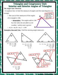 triangles congruency unit 2 interior and exterior angles notes and homework