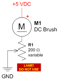 pwm pulse width modulation for dc motor speed and led brightness schematic of motor speed controlled by a potentiometer