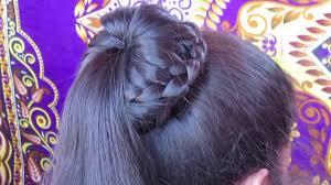 Judaai Ke Design Braided Bun Hairstyle Easy Lace Braid Bun Juda Hairstyle
