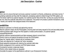 Cashier Job Description Resume Extraordinary Restaurant Cashier Job Description Resume Httpresumesdesign