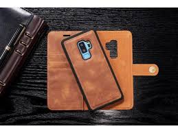 luxury detachable leather wallet case magnetic closure snap on leather case with card holder card