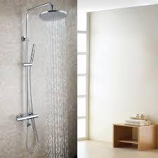 Us 26625 29 Offmessing Badewanne Auslauf 10 Runde Regendusche Kopf Thermostat Chrome Messing Exposed Bad Dusche Wasserhahn Set In Dusch Armaturen