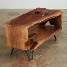 low console table. A Walnut Multi-fold, Single Slab, Low Console Table With Natural Inclusions And R