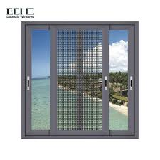 heat insulation home aluminum sliding glass windows with mosquito net 1 4mm thickness
