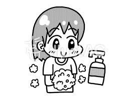 手洗いをする女の子モノクロイラスト No 1094839無料イラストなら