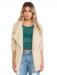 apricot long sleeve notch lapel faux fur coat
