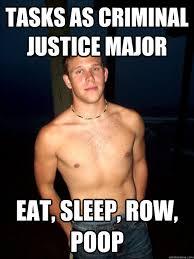 Tasks as Criminal Justice Major Eat, sleep, row, poop - cool guy ... via Relatably.com