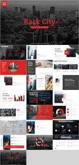 Red Black Background City Chart Powerpoint Template
