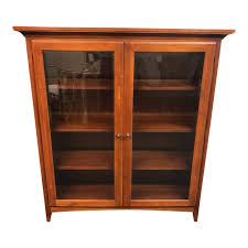 transitional 2 door glass and wood display cabinet