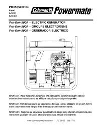 coleman powermate pro gen 5000 pm0535202 generator owners manual