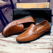 2019 Men&#39;s Casual <b>shoes four seasons</b> Leather Flats Pure ...