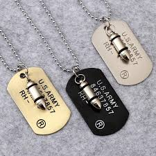 whole army bullet dog tag pendant necklace women men punk rock hip hop chains stainless steel cool military card jewelry for men gifts silver pendants