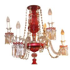 antique ruby red glass chandelier for