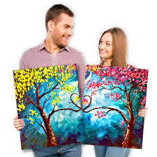 love trees at night set by painting with a twist