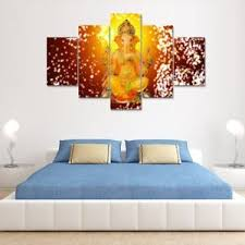 image is loading hindu lord ganesha elephant 5 piece painting printed  on yellow wall art ebay with hindu lord ganesha elephant 5 piece painting printed canvas wall art