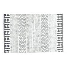 cotton flat woven rug white black printed area accent weave 4 x and