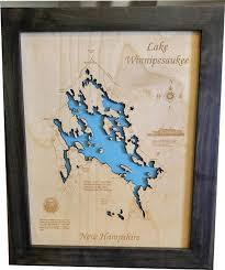 Lake Winnipesaukee N H Wood Laser Cut Topographical Engraved Map