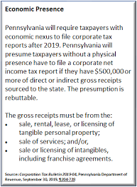 Pennsylvania Corporate Nexus Standard Update