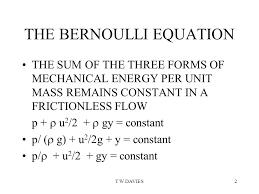 2 t w davies2 the bernoulli equation