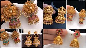 Gold Jhumka Designs For Bridal Traditional Gold Jhumkas Earrings Simple Craft Ideas