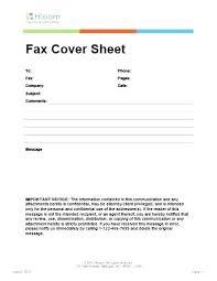 Fax Format Template