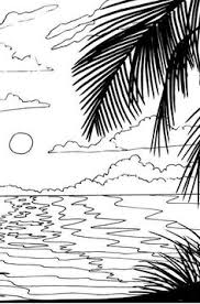 beach sunrise coloring page beach art digital by coloringbook