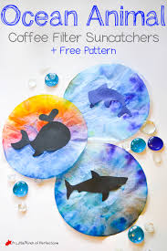 ocean animal coffee filter suncatcher craft for kids free template we used coffee filters