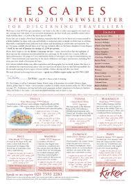 Escapes Spring 2019 Newsletter Kirker Holidays By Kirker