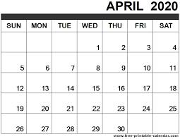 Calendars 2020 Free April 2020 Calendar Printable Free Printable Calendar Com