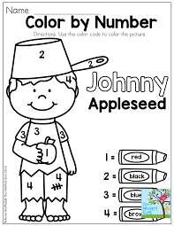 Johnny Appleseed Color By Number Coloring
