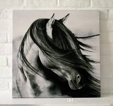 framed black white horse pure hand painted contemporary wall decor art oil painting on high quality canvas multi sizes available moore2016 handpainted