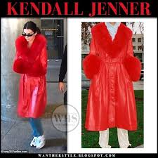 kendall jenner wearing red leather fur collar coat and cuffs saks potts casual street style