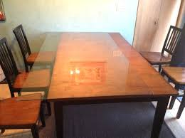 wood table top once the glass is able to move i slide it to one side wood table