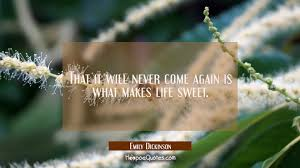That It Will Never Come Again Is What Makes Life Sweet Hoopoequotes